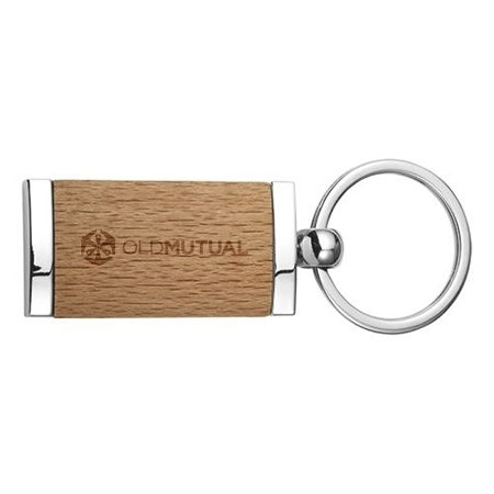 Picture of Wooden Keychain With Metal Trim